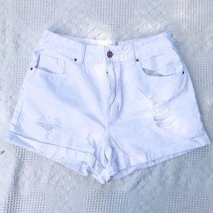White denim mom shorts